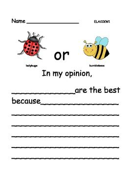 Opinion Writing: Favorite Insects (6 pages)