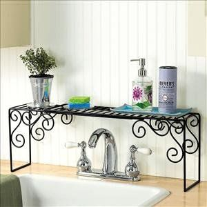 Kitchen Sink Organizer $12.98 Increase storage, organize food prep and cleaning necessities, add a polished look to your kitchen! Durable shelf is wide enough to span double sinks, tall enough to fit over faucets. Ideal for soaps, lotions, sponges, stoppe