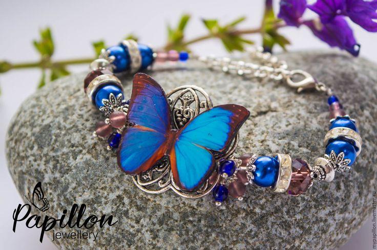 Купить Браслет Бабочка лазурная - синий, браслет, бабочка, летний, летний…
