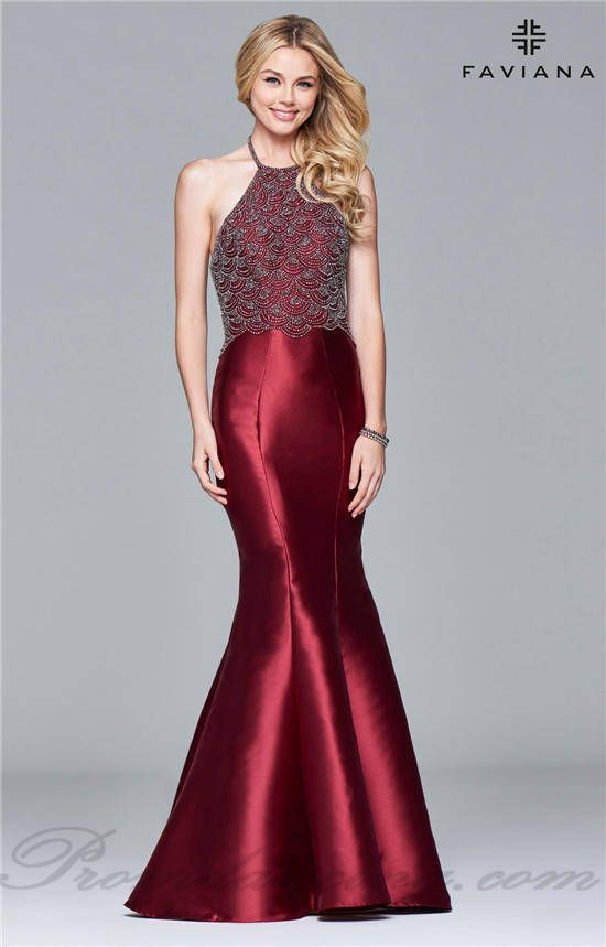 2017 Haler Neck Beaded Low Back Mermaid Prom Dresses from Faviana S7974