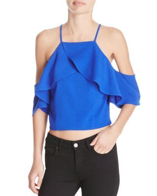 JOA Cold Shoulder Ruffle Top | Bloomingdale's