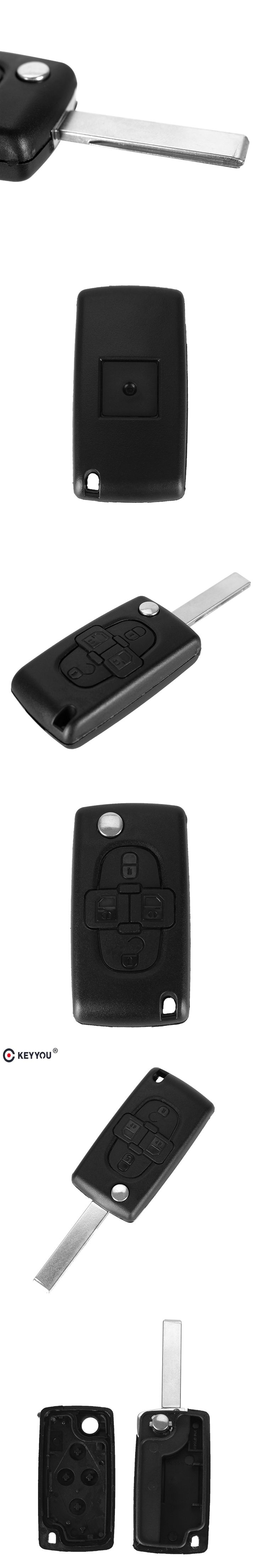 KEYYOU 4 Buttons Flip Floding Remote Key Fob Case Shell Fob For Peugeot 1007 For Citroen C8 Uncut Blade With Groove CE0523