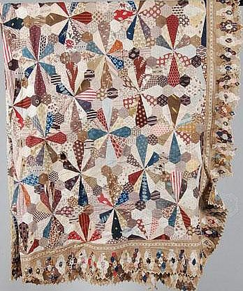 antique quilt - hexagons and a dresden-like pattern with hexagon outer edge..