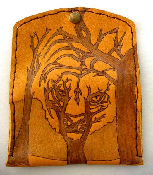 Tiger tobacco bag from ZackLeatherCrafts by DaWanda.com