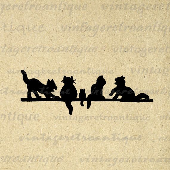 Cat Silhouettes Cats Digital by Vintage Retro Antique