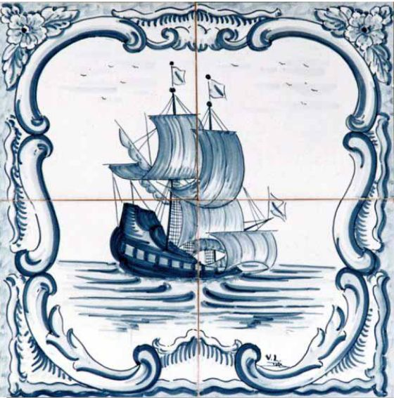 #azulejos #bateau_( réf: cerb_130_3_2) #mer #carrelage #tile #boat #sea #decoration #bleu #blue