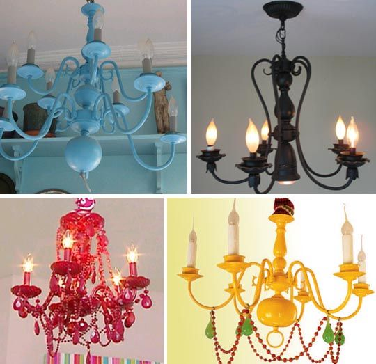 I dunno. I searched thrift stores everywhere for their vast selection of vintage chandeliers just waiting to be spray painted and hung in my house. So far, I ain't found one.