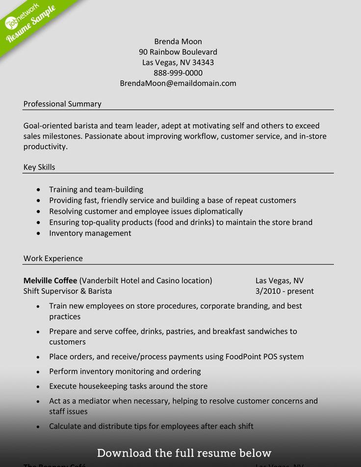 Barista Good resume examples, Resume skills, Resume examples