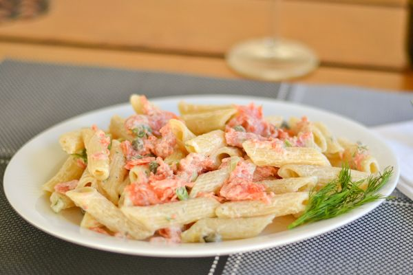 Pasta with Smoked Salmon and Cream Cheese Sauce