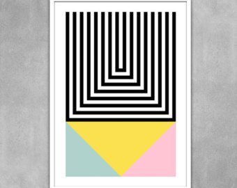 Abstract geometric poster mid century modern art pastel by yumalum