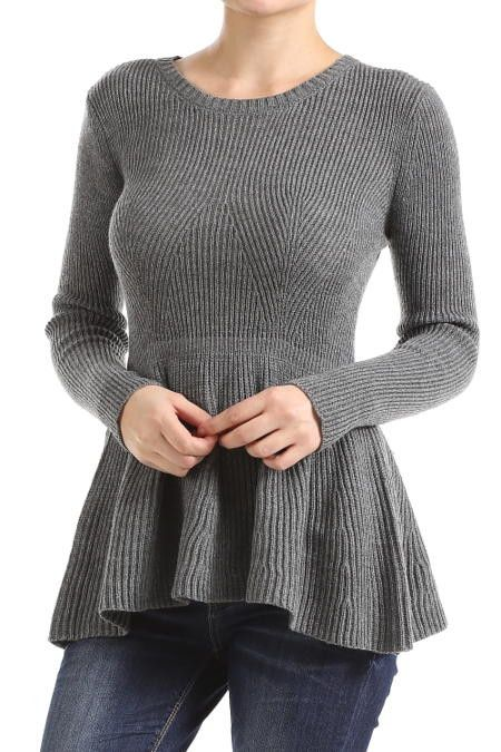 Long sleeve sweater peplum top. Great sweater material. Pair with your favorite…