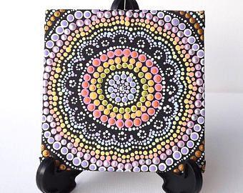 """Arco iris punto pintura, auténtico arte aborigen australiano, Biripi artista Raechel Saunders, 4 """"x 4"""" lona tablero, pintura de acrílico, decoración de boho"""