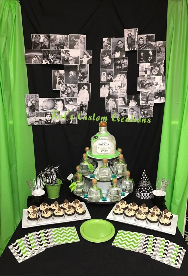 Green, Black, and Silver Party Decorations. Patron Silver Bottle Cake, Reese's Cupcakes, small bottles of patron, shot glass favors, party hats, party blow outs, green black and gray chevron napkins, green plates, black and white pictures in shape of 30.