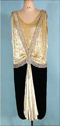 c. 1925 JEAN PATOU Paris, Cannes, Monte Carlo Couture Numbered Ecru and Black Silk Velvet Flapper Party Dress Trimmed in Rhinestones and Faux Pearls