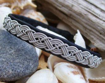 Bracelet Laponie, cuir de renne noir et fil d'étain, bijoux Laponie