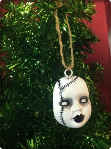 Medium Creepy Doll Face Christmas ornament Bloody horror Stitches ebay id; bastet2329