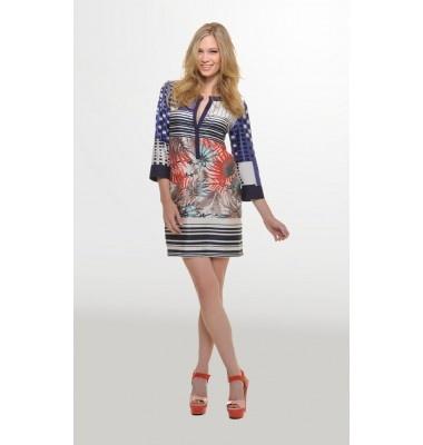 Εμπριμέ φόρεμα με 3/4 μανίκι, 1-303042  summer prints dress wmen's fashion