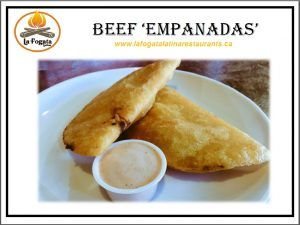 BEEF EMPANADAS - GLUTEN-FREE. La Fogata Latina - Authentic Gluten-Free Latin American Food in Downtown Victoria - 749 View Street. MON - THURS Noon - 7 PM • FRI Noon - Midnight • SAT 2PM - 3AM • 250-381-2233 SEE: https://theceliacscene.com/places/victoria/featured-restaurant/la-fogata-latina-2/