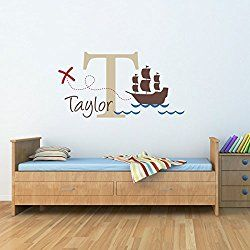Pirate Ship Wall Decal with Initial & Name - Personalized Name Wall Decal Nursery - X marks the spot - Large