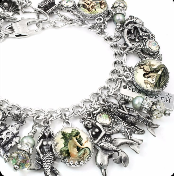 "My jewelry store features handmade jewelry, charm bracelets, necklaces, earrings, this wonderful ""Siren of the Sea"" Mermaid charm bracelet, inspirational bracelets, Mother's bracelets, personalized je"