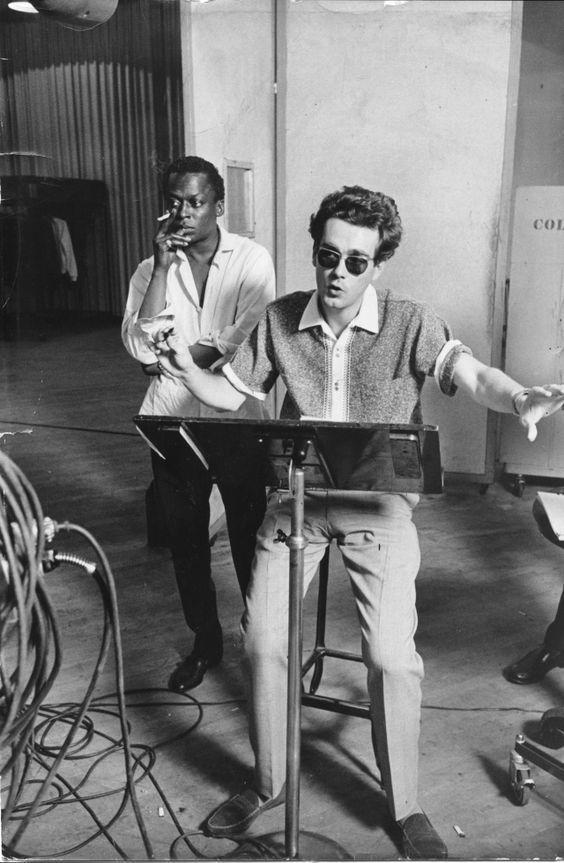 """mindo80: """"Miles Davis and Michel Legrand in the studio """""""