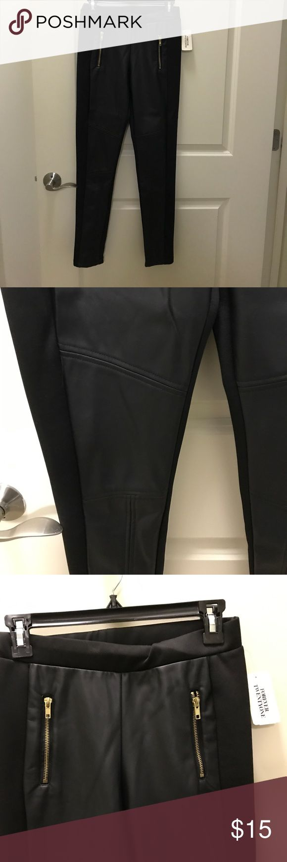 Black cool leggings Faux leather mixed with a thick legging material. Very warm and stylish. Forever 21 Pants Leggings