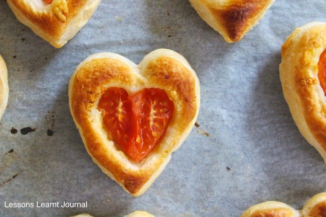 Puff Pastry Tomato and Cheese Bites - would recreate without the heart shape and with goat cheese and maybe different veggies....