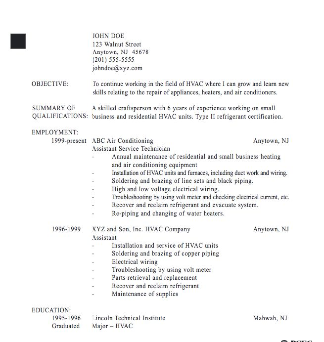 Electronics technician resume field installation and repair job
