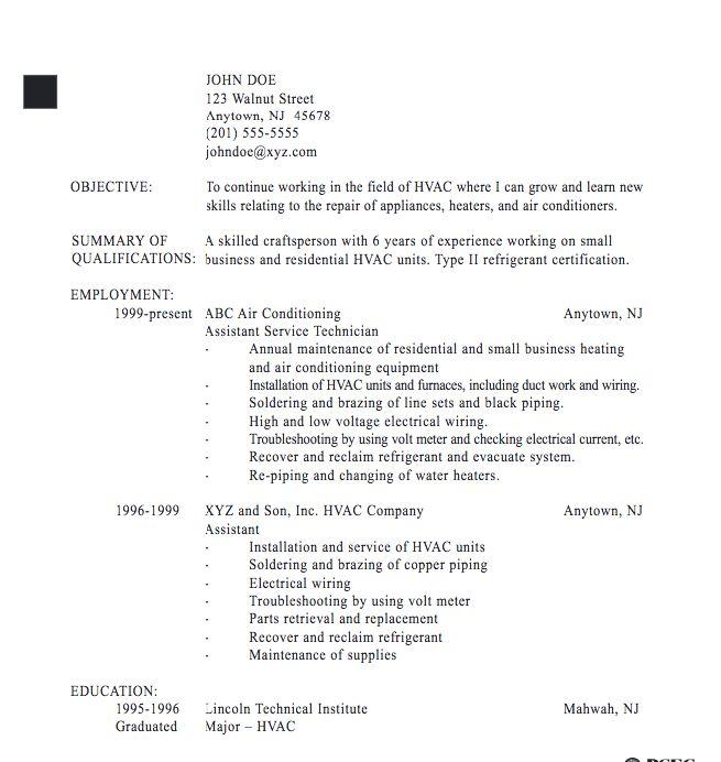 HVAC Technician resume sample - http://exampleresumecv.org/hvac-technician-resume-sample/