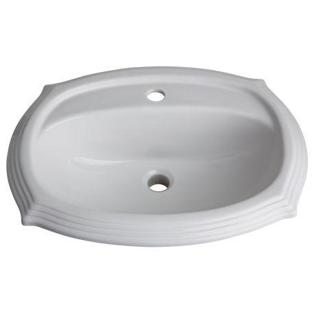 Un style très rétro, pour cette vasque à encastrer en céramique blanche. Pratique, elle possède une plage de robinetterie.