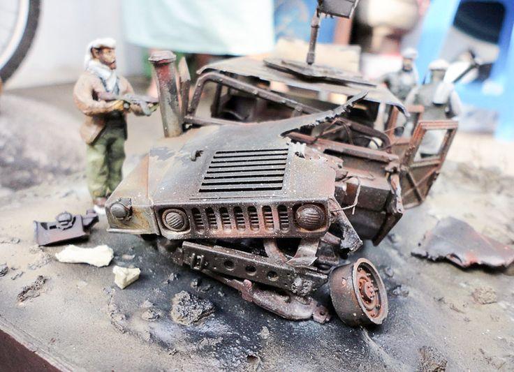 M1025 burned down 1/35 Scale Model Diorama
