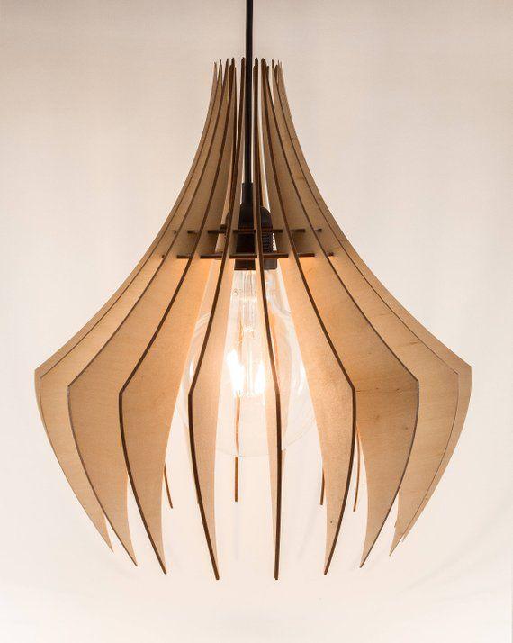 Wooden Lamp Shade   Wood Lamp   Hanging Lamp   Pendant Light   Modern Lamp   Wood Chandelier   Wooden Ceiling Light – Allie