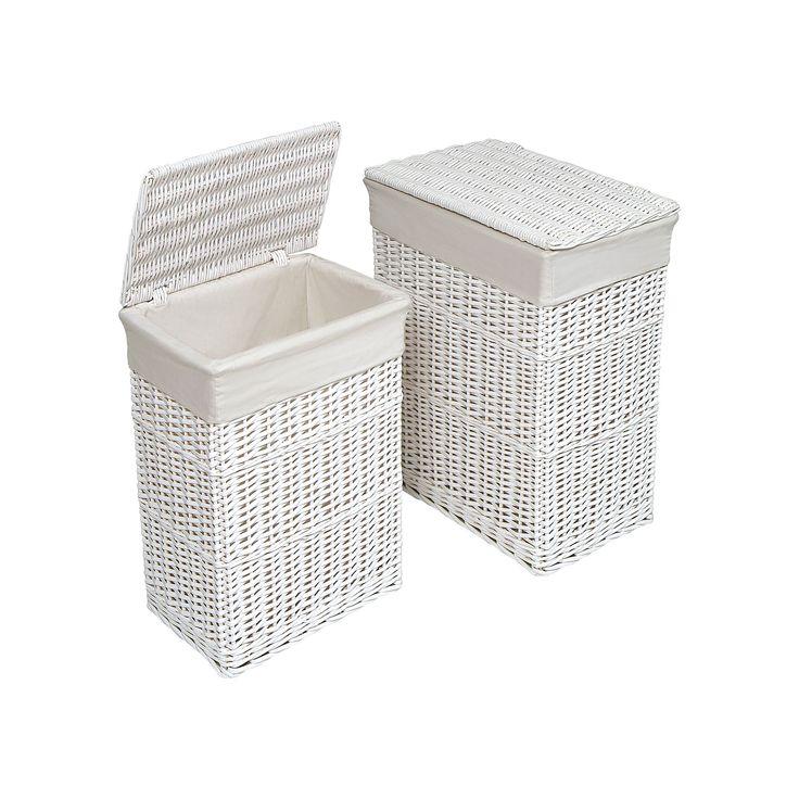 Badger Basket Wicker Hamper Set, White