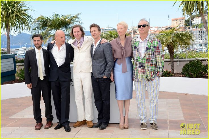 "Wes Anderson with some of the ""Moonrise Kingdom"" cast.  B. Murray = insanity."