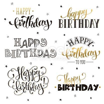 Handgeschriebene alles- Gute zum Geburtstagphrasen im Gold. Grußkartentext …