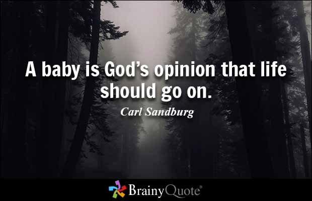 A baby is God's opinion that life should go on. - Carl Sandburg