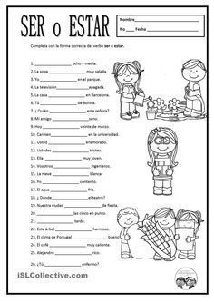 Free Spanish worksheets: SER O ESTAR. For some of these, either ser or estar would work depending on the context of use. You could have kids write a note about how the message changes based on which verb is used. https://es.islcollective.com/resources/printables/worksheets_doc_docx/ser_o_estar/ser-y-estar/67735