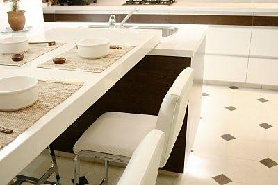 Cocina con isla y comedor integrado for Cocina y lavadero integrados