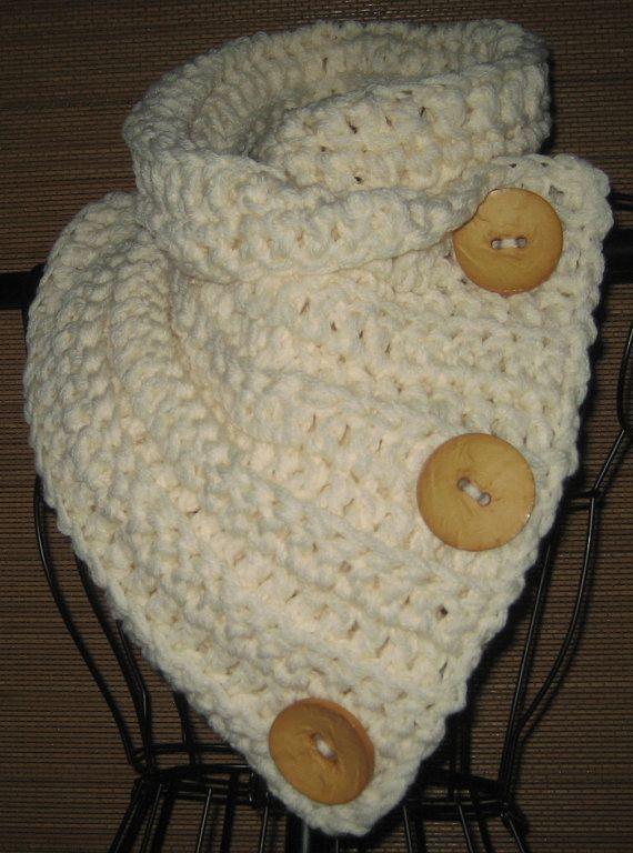 Crocheted Neck Warmer Cowl Scarf.