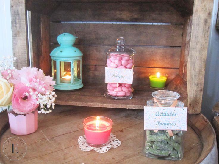Candy Bar Vintage Peach, Mint, Pink Bar à bonbons Sweet table Caisse en bois