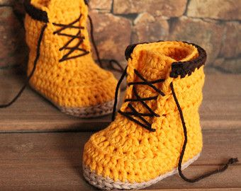 "Crochet Boots Pattern for Baby Boys ""Woodsmen"" Construction Boots Crochet Pattern, Yellow Crochet Baby Boots, street shoes PATTERN ONLY"