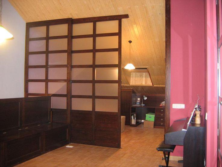 Separador de ambientes de zona de estudio y zona de - Cerramiento de madera ...