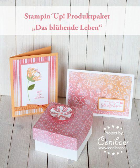 """www.conibaer.de Kreative Ideen mit Blumen / """"Das blühende Leben"""" / Stempeln / Basteln / blumenstanze / Stempeltechnik / Blüte / Grußkarten selbstgestaltet - Ideas with stamped flowers / Paper crafts / Blossom / technique"""