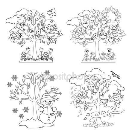 Négy évszak a fák Clipart és vektor, tavaszi, nyári, őszi és téli fák. Színezés. Vektoros illusztráció — Stock Vektor © Sandylevtov #83196208
