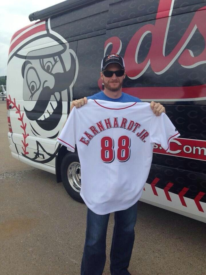 Dale Jr when he was at the Cincinnati Reds game