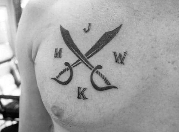 Minimalistic Guys Crossed Sword Chest Tattoos