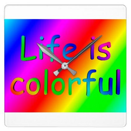 Life is colourful - 3D-Logo on Rainbow Background Square Wall Clock - logo gifts art unique customize personalize