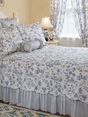 Blue Toile Add A Blue And White Vertical Striped Bed