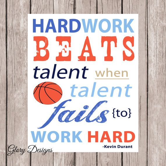 Hardwork Inspirational quote, Basketball quote, Kevin Durant, Boy Printable, Boy's room decor, typography, room printable on Etsy, $5.00