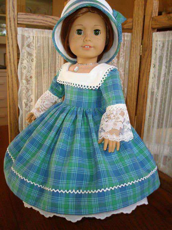 VintiqueDesigns presents our latest Historical 1860s Christmas dress and bonnet for American Girl and other 18 dolls! Nothing says Holidays like a lovely Christmas plaid! Plaid fabrics was very popular in the mid to late 1800s and frequently seen at festivities, like Christmas
